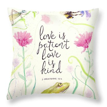 Love Is Patient Throw Pillow by Susan Jenkins
