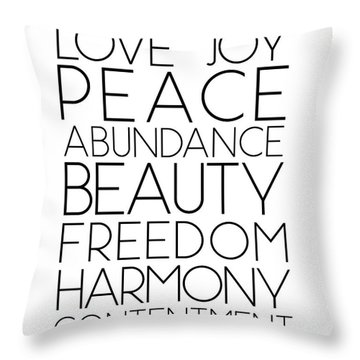 Love Joy Peace Beauty Virtues Throw Pillow