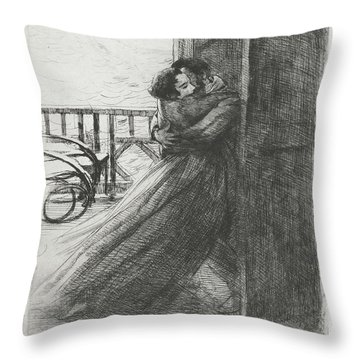 Throw Pillow featuring the drawing Love - La Femme Series by Paul-Albert Besnard