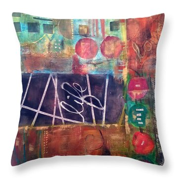Throw Pillow featuring the mixed media Love Life by Shelley Bain