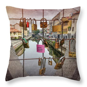 Love Lock Triangle At Naviglo Grande Milan Italy  Throw Pillow