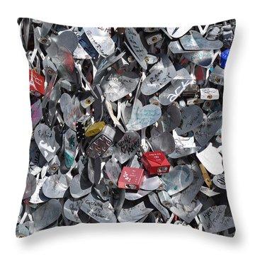 Love Locks On Fremont Street Throw Pillow