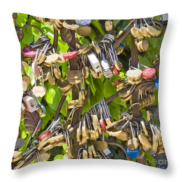 Throw Pillow featuring the photograph Love Locks Square by Chris Dutton