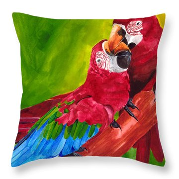 Love Macaws Throw Pillow