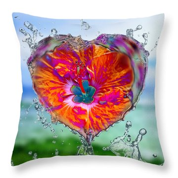 Love Makes A Splash Throw Pillow