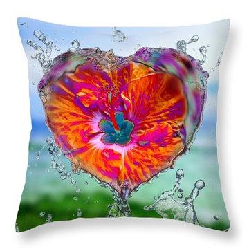 Love Makes A Splash Throw Pillow