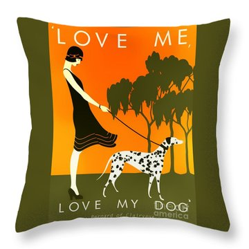 Love Me Love My Dog - 1920s Art Deco Poster Throw Pillow