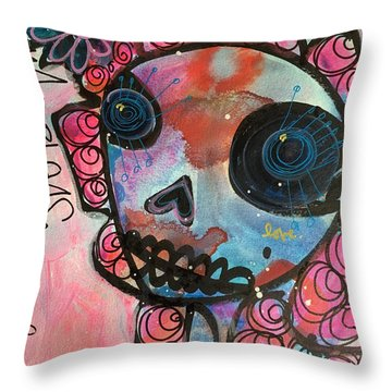 Love Me Please Throw Pillow by Laurie Maves ART