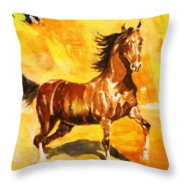 Lone Mustang Throw Pillow by Al Brown