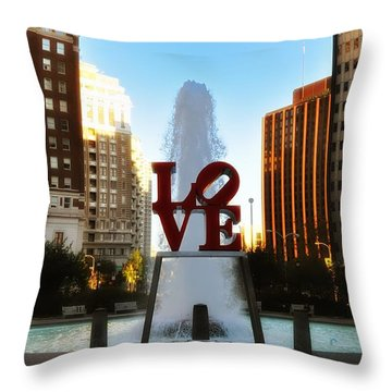 Love Park - Love Conquers All Throw Pillow by Bill Cannon