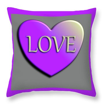Love Purple And Yellow Throw Pillow