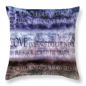 Throw Pillow featuring the digital art Love Rejoices With The Truth by Angelina Vick