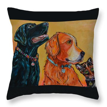 Throw Pillow featuring the painting Love Rescue Spay by Patti Schermerhorn
