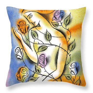 Throw Pillow featuring the painting Love, Roses And Thorns by Leon Zernitsky
