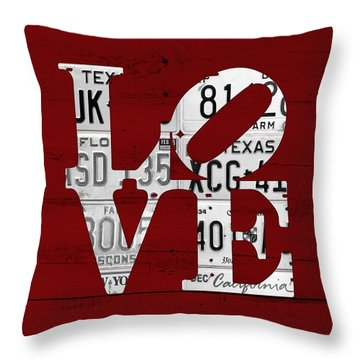 Love Sign Vintage License Plates On Red Barn Wood Throw Pillow by Design Turnpike