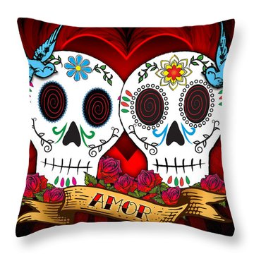 Love Skulls Throw Pillow by Tammy Wetzel