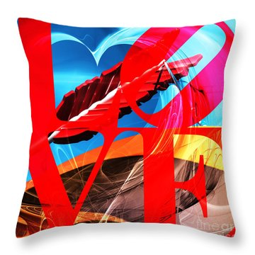 Throw Pillow featuring the photograph Love Swirls At The San Francisco Cupids Span Sculpture Dsc1819 by Wingsdomain Art and Photography