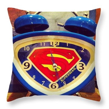 Superman Clock Throw Pillow