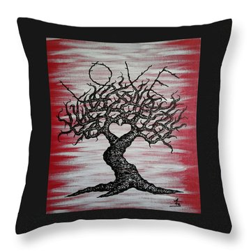 Throw Pillow featuring the drawing Love Tree Art by Aaron Bombalicki