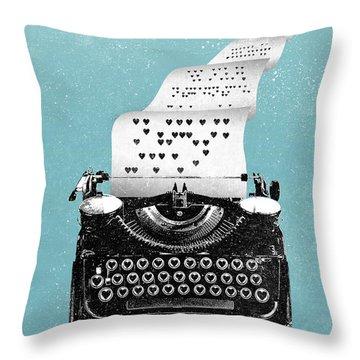 Love Typewriter Poster Throw Pillow