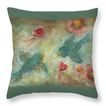 Lovebirds Throw Pillow by Mary Wolf