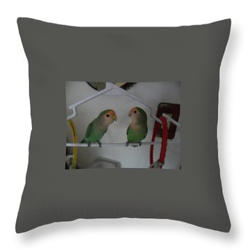 Lovebirds Throw Pillow by Val Oconnor