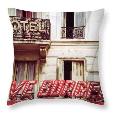 Loveburger Hotel Throw Pillow