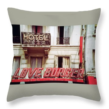 Loveburger Hotel Throw Pillow