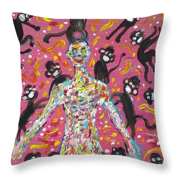 Throw Pillow featuring the painting Loved By The Monkeys by Fabrizio Cassetta