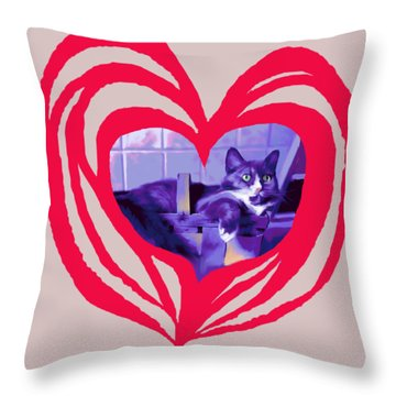 Loveheart Kitty Throw Pillow by Mary Armstrong