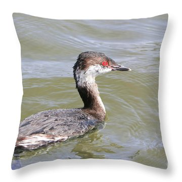 Lovely Horned Grebe Throw Pillow
