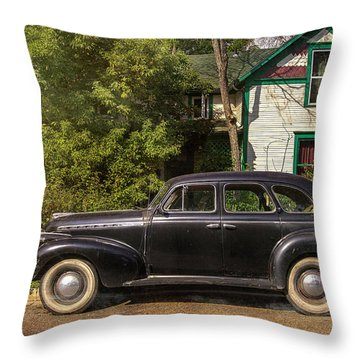 Throw Pillow featuring the photograph Loveland Black Auto by Craig J Satterlee