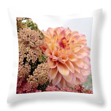 Dahlia Flower Bouquet Throw Pillow