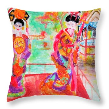 Lovely Asian Ladies Throw Pillow