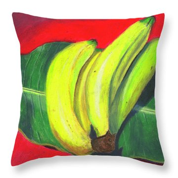 Lovely Bunch Of Bananas Throw Pillow by Arlene Crafton