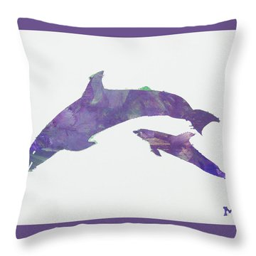 Throw Pillow featuring the painting Lovely Dolphins by Candace Shrope