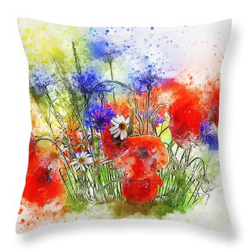 Watercolour Bouquet Throw Pillow