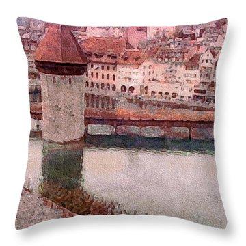 Lovely Lake Lucerne Throw Pillow