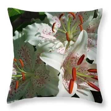 Lovely Lilies Throw Pillow by Anna Villarreal Garbis