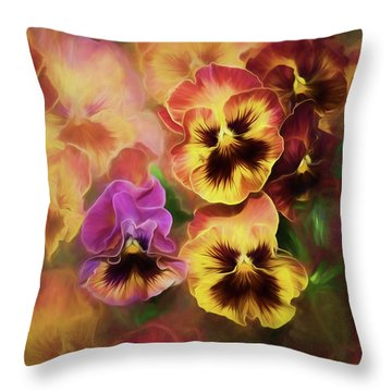 Lovely Spring Pansies Throw Pillow by Diane Schuster