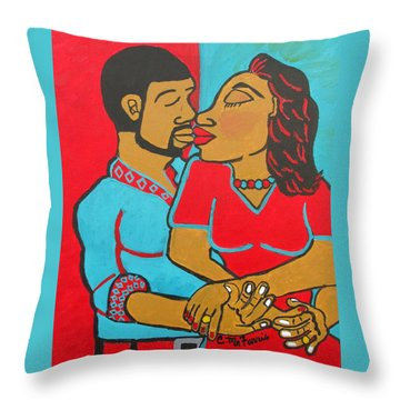 Throw Pillow featuring the painting Lovers Embrace by Christopher Farris
