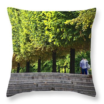 Lovers In The Tuileries Throw Pillow by John Hansen