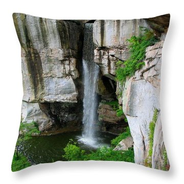 Lover's Leap Waterfall Throw Pillow by April Patterson