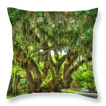 Lovers Oak Live Oak Tree Brunswick Georgia Art Throw Pillow