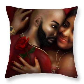 Lovers Portrait Throw Pillow