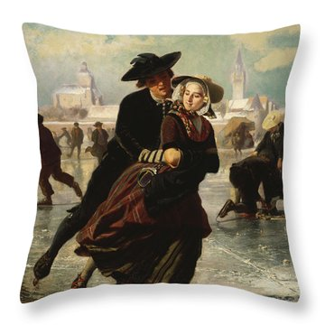 Lovers Skating Throw Pillow