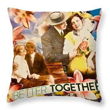 Throw Pillow featuring the mixed media Lovers Together by Joan Reese