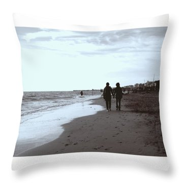 #lovers #walking On The #seashore In Throw Pillow