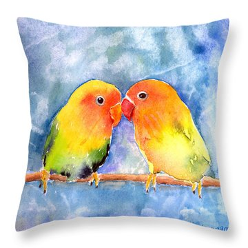 Lovey Dovey Lovebirds Throw Pillow