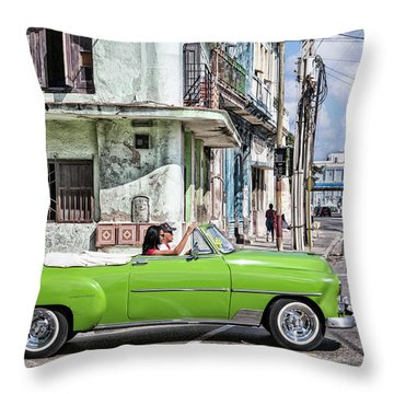 Lovin' Lime Green Chevy Throw Pillow